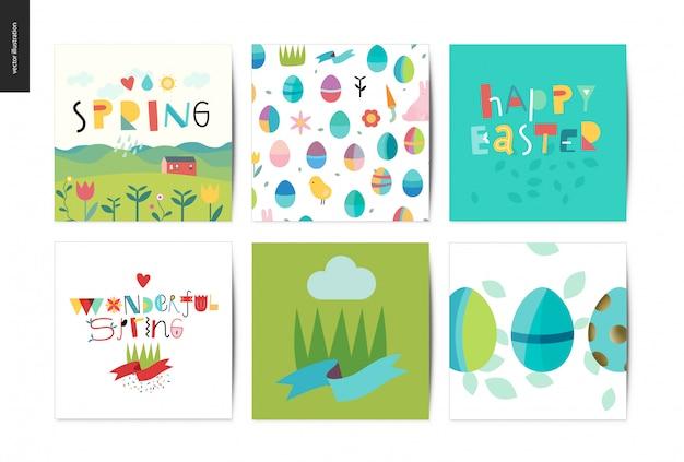 Ensemble de cartes postales de pâques et de printemps Vecteur Premium