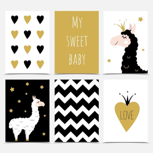 Un ensemble de cartes de souhaits mignons avec des lamas. Vecteur Premium