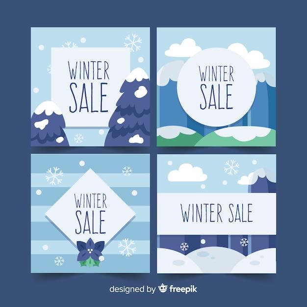 Ensemble de cartes de vente d'hiver plat Vecteur gratuit