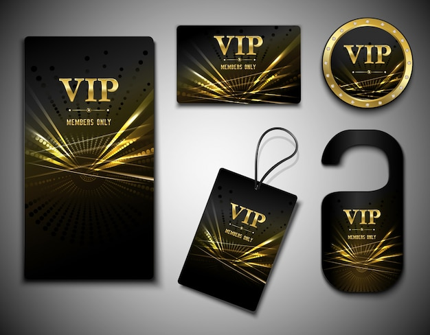 Ensemble de cartes vip Vecteur Premium