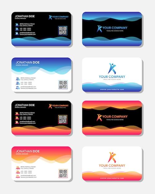 Ensemble De Cartes De Visite Vecteur Premium