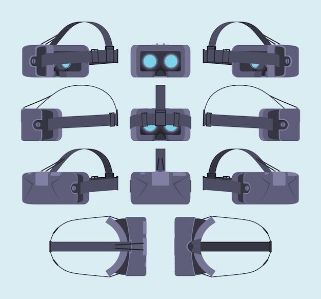 Ensemble des casques de réalité virtuelle. les objets sont isolés sur le fond bleu clair et représentés de différents côtés Vecteur Premium