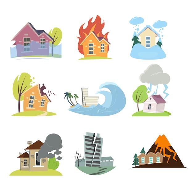 Ensemble De Catastrophes Naturelles Avec Des Compositions Extérieures De Maisons Vivantes Vecteur Premium