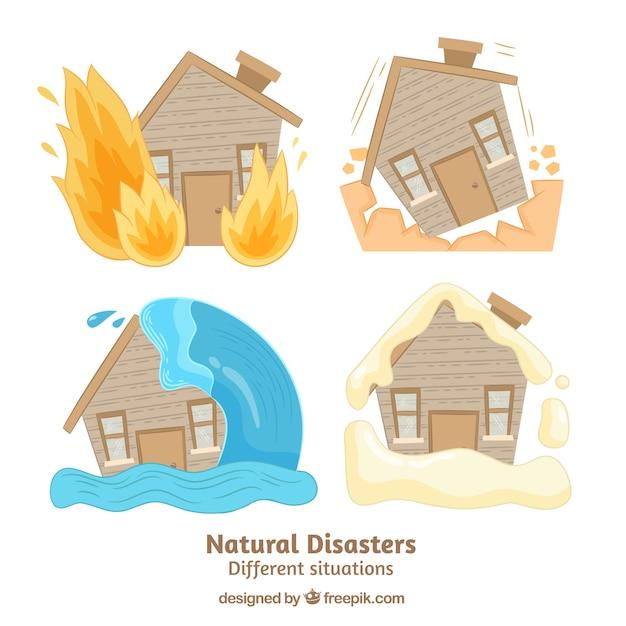 Ensemble de catastrophes naturelles Vecteur gratuit
