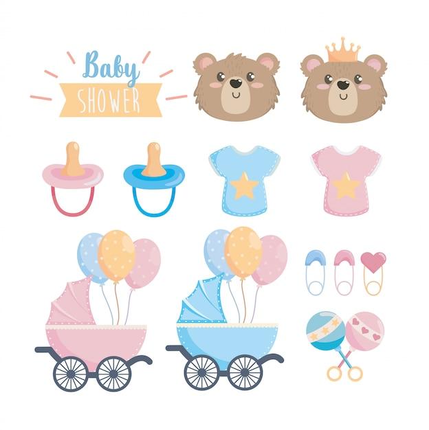 Ensemble de célébration de douche de bébé heureux Vecteur gratuit