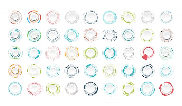 Ensemble de cercle de technologie abstraite. Vecteur Premium