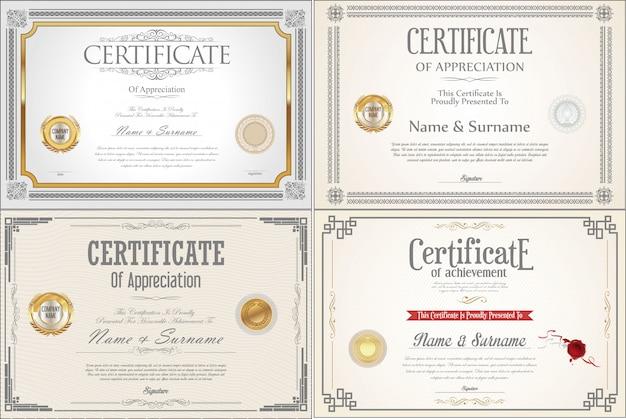 Ensemble De Certificats De Réussite Avec Sceaux Vecteur Premium