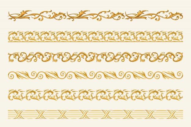 Ensemble de chaînes d'or et de cordes isolés sur fond blanc. Vecteur Premium