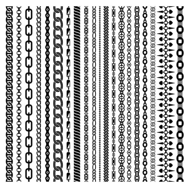 Ensemble de chaînes verticales noires Vecteur gratuit