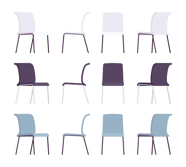 Ensemble de chaises de bureau de différentes couleurs Vecteur Premium