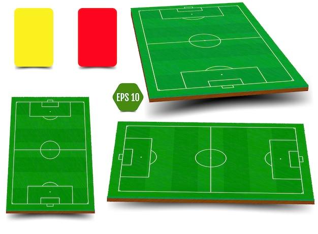 Ensemble de champ vert pour le football Vecteur Premium