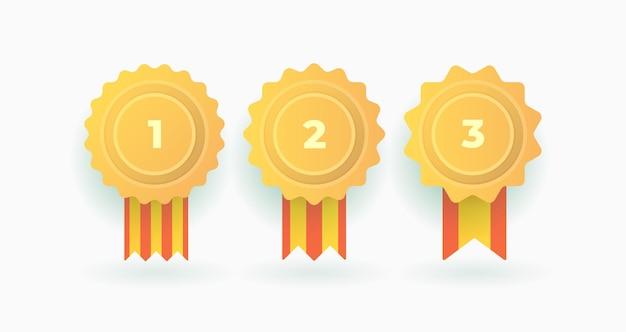 Ensemble De Champions Du Badge Gagnant Vecteur Premium