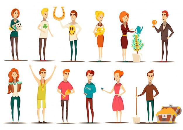 Ensemble chanceux de situations plates images style doodle de personnages humains isolés avec divers éléments vector illustration Vecteur gratuit