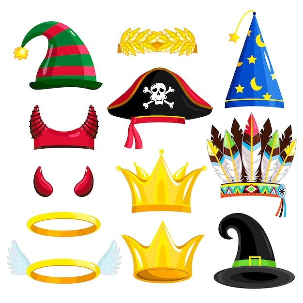 Ensemble de chapeaux de carnaval ou d'halloween isolé Vecteur Premium