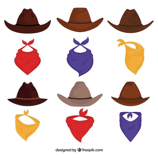 Ensemble de chapeaux de cow-boy et écharpe Vecteur gratuit