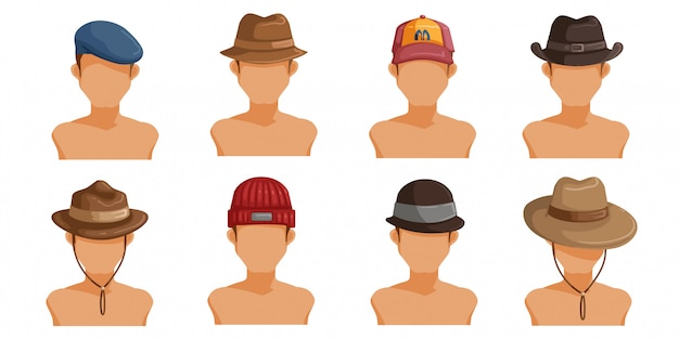 Ensemble De Chapeaux Pour Hommes. Collection De Tête D'homme. Userpics De Cheveux De Style Différent Masculin. Vecteur Premium