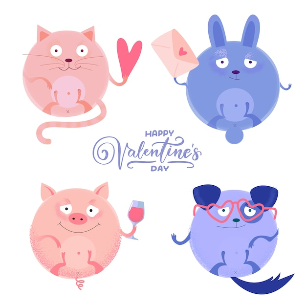 Ensemble De Chat Rond Mignon, Cochon, Chien Lapin Avec Petit Coeur, Lettre, Verre à Vin, Verres Pour La Saint Valentin Vecteur Premium