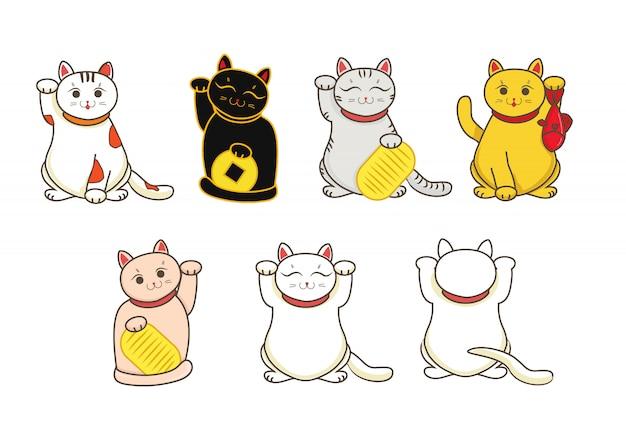 Ensemble de chats japonais Vecteur Premium