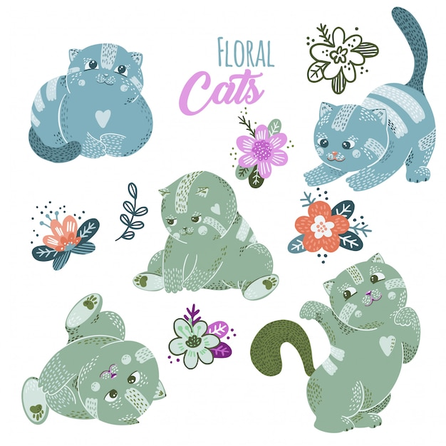 Ensemble de chats mignons de dessin animé avec des fleurs Vecteur Premium