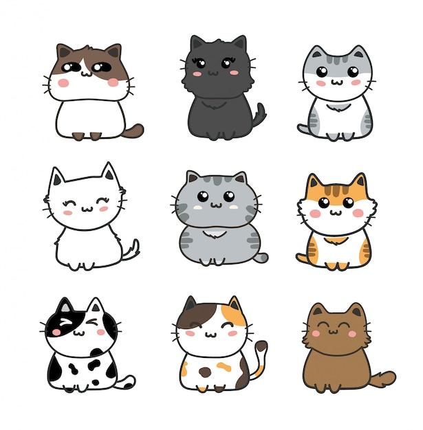 Ensemble de chats mignons. Vecteur Premium