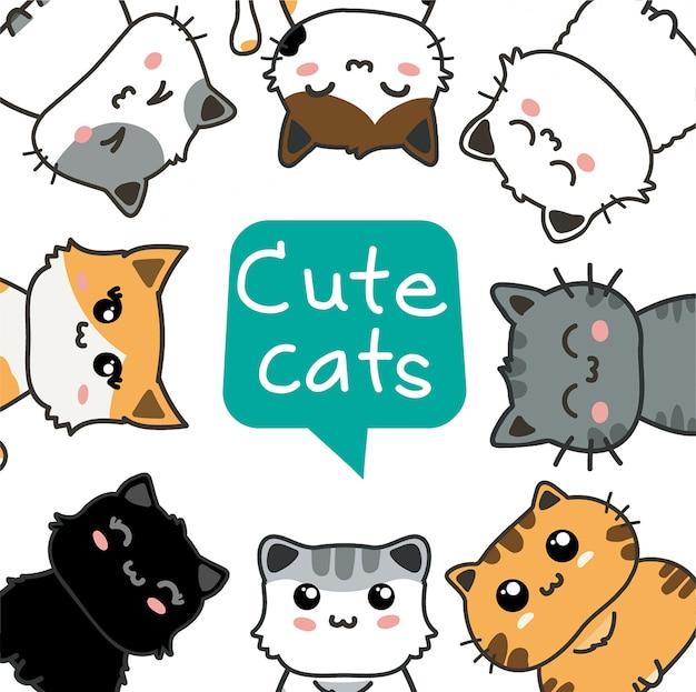 Ensemble de chats mignons Vecteur Premium