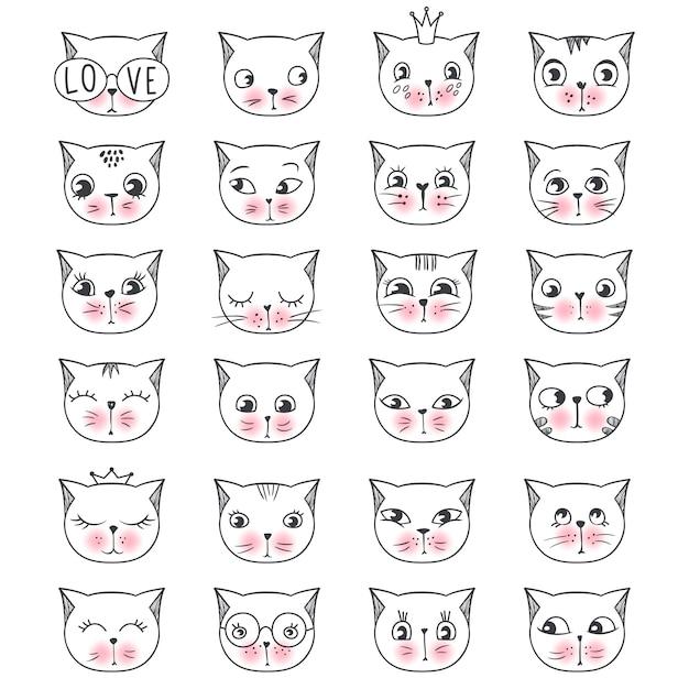 Ensemble de chats de visage de mode mignon Vecteur Premium