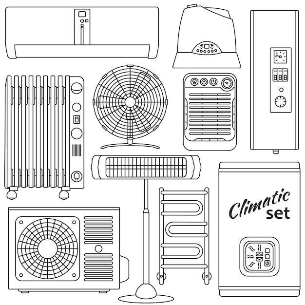 Ensemble De Chauffage, Ventilation Et Climatisation. Facile Vecteur Premium