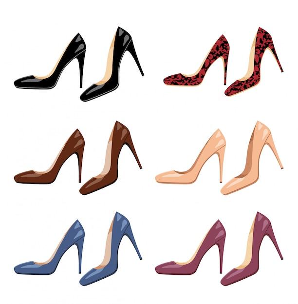 Ensemble De Chaussures Femmes Vecteur Premium