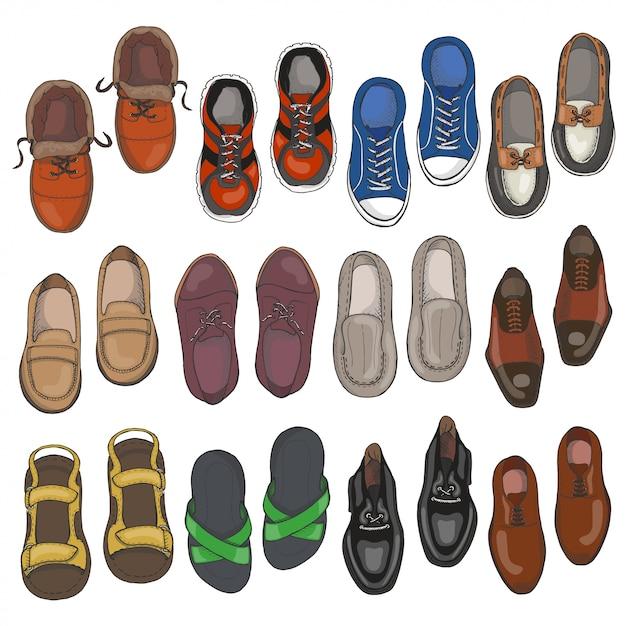 Ensemble de chaussures hommes Vecteur Premium