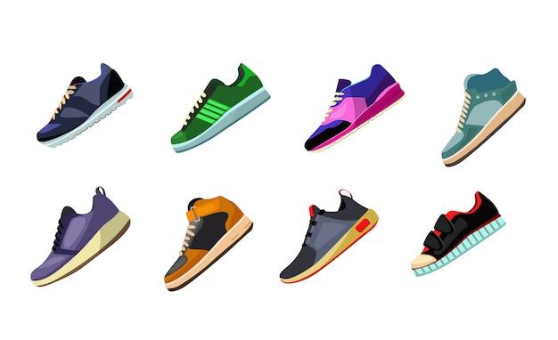 Ensemble Chaussures De Sport Et Baskets Vecteur gratuit