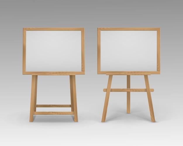 Ensemble De Chevalets En Bois Brun Sienna Art Boards Vecteur Premium