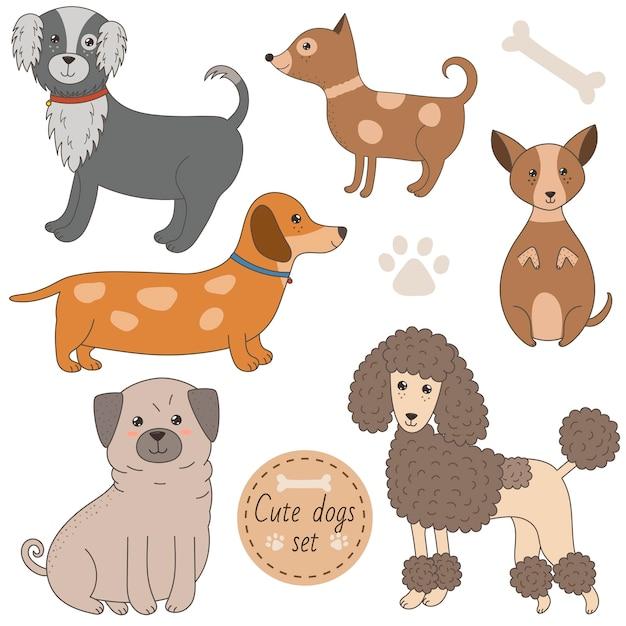Ensemble de chiens mignons Vecteur Premium