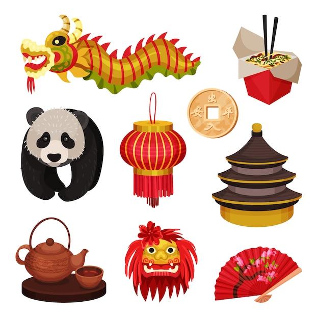 Ensemble De La Chine. Concept De Symboles Orientaux. Illustration. Vecteur Premium
