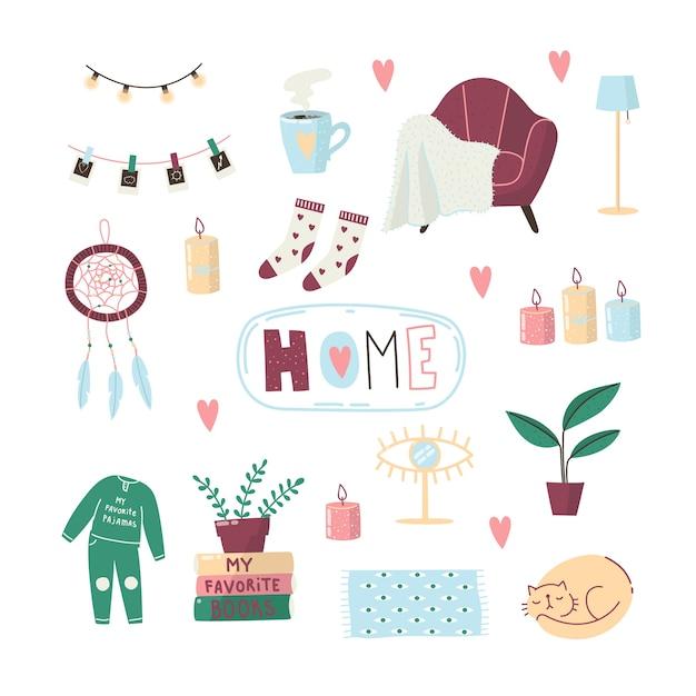 Un Ensemble De Choses Douillettes Pour La Maison. Maison Confortable. Des Choses Pour Le Confort De La Maison. Capteur De Rêves, Chaussettes, Pyjamas, Chat Endormi, Café, Fauteuil, Bougies. Vecteur Premium