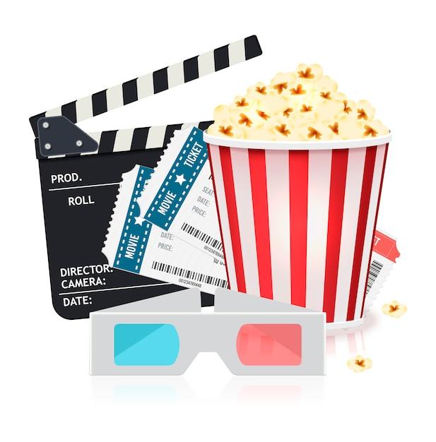 Ensemble de cinéma avec seau de pop-corn, billets, lunettes 3d et clapper board. Vecteur Premium