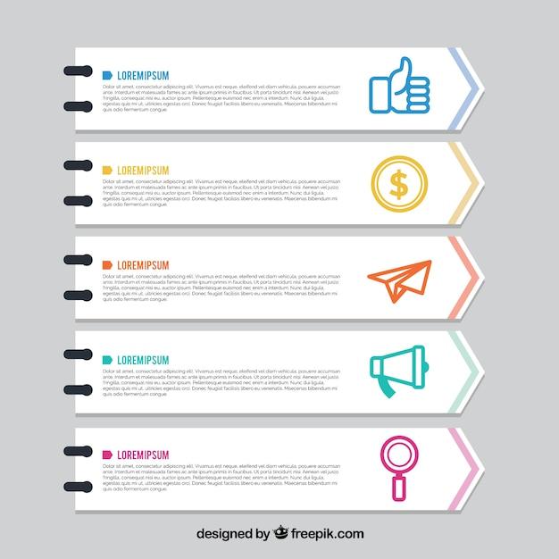 Ensemble de cinq bannières infographiques plats avec des éléments de couleur Vecteur gratuit