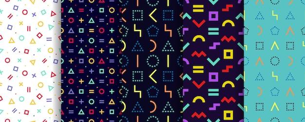 Ensemble De Cinq Textures Géométriques. Modèle Sans Couture Abstraite. Vecteur Premium