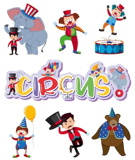 Un ensemble de cirque Vecteur Premium