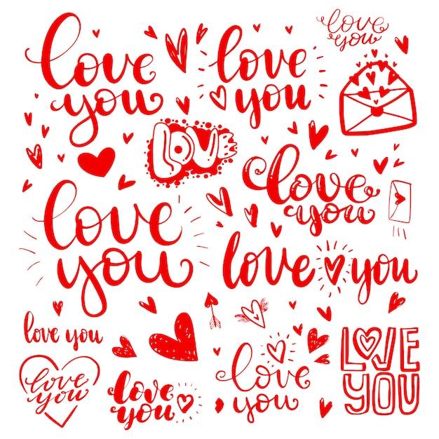 Ensemble De Citations D'amour Dessinés à La Main Dans L'amour Vecteur Premium