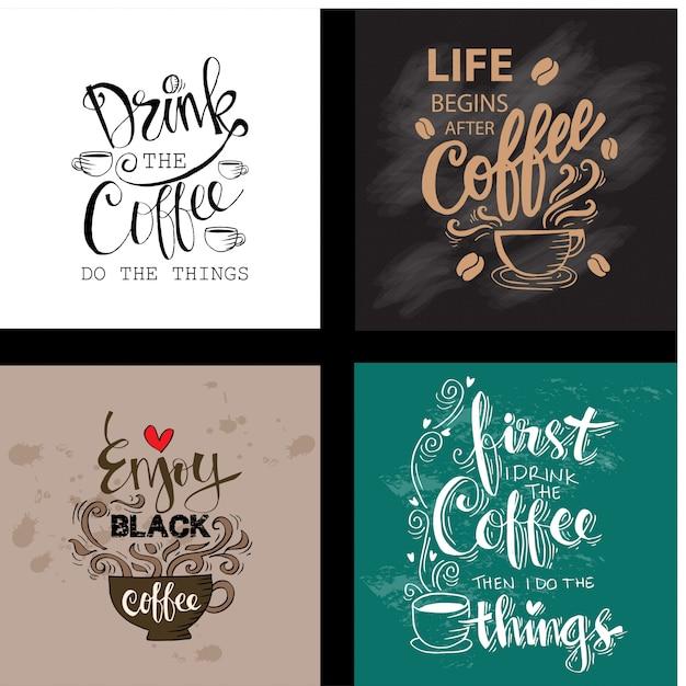 Ensemble de citations de motivation sur le café Vecteur Premium