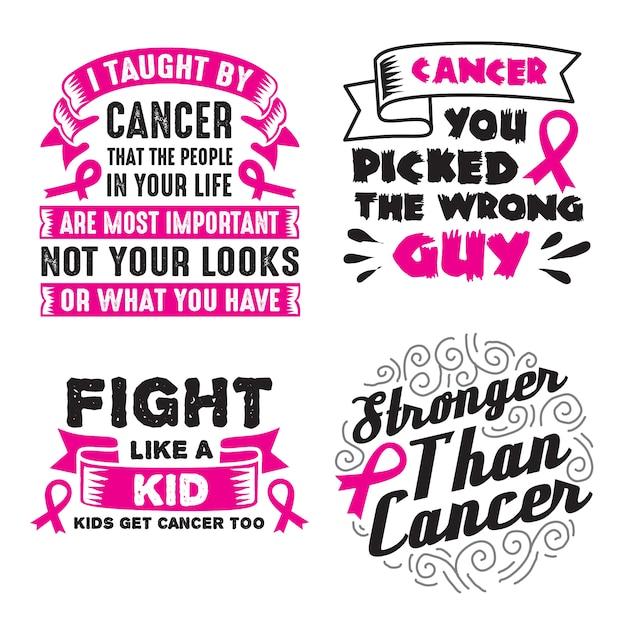 Ensemble de citations et de phrases sur le cancer Vecteur Premium