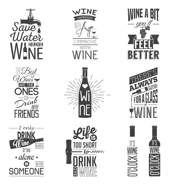 Ensemble de citations typographiques de vin vintage. effet grunge Vecteur Premium