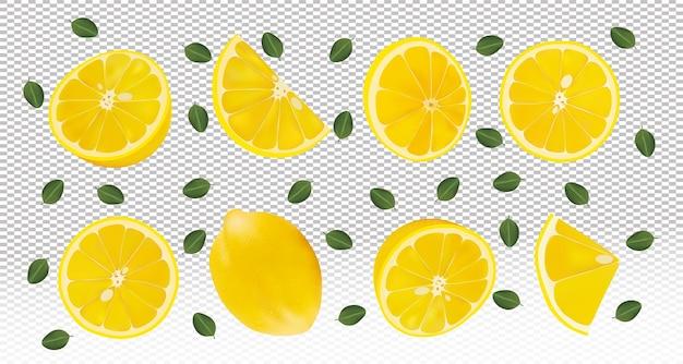 Ensemble De Citron Frais Avec Des Feuilles Vertes. Les Citrons Volants Sont Entiers Et Coupés En Deux. Vecteur Premium