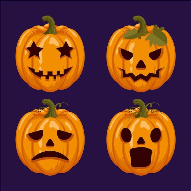 Ensemble De Citrouille D'halloween Design Plat Vecteur gratuit