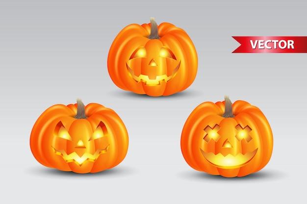 Ensemble De Citrouilles Effrayantes Sur Fond Blanc. Convient Pour Le Fond D'halloween, L'affiche, La Bannière Et Le Dépliant Vecteur Premium