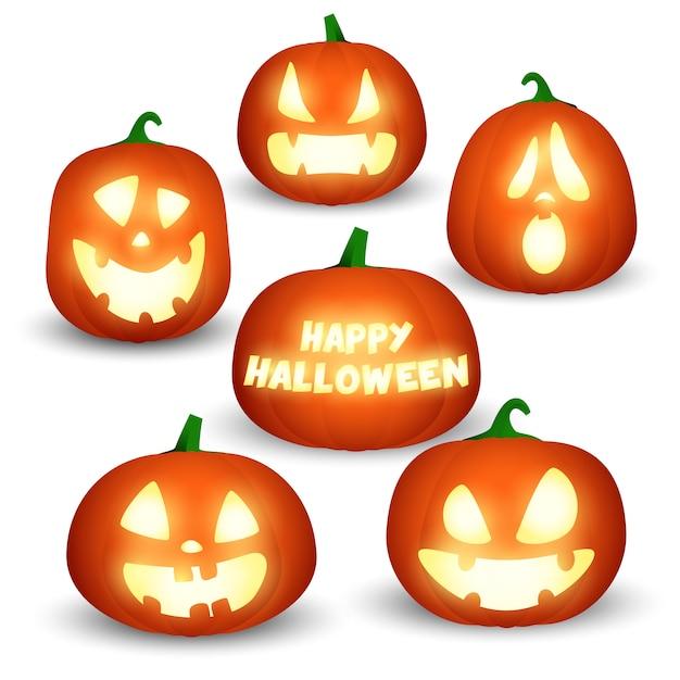 Ensemble de citrouilles d'halloween Vecteur gratuit