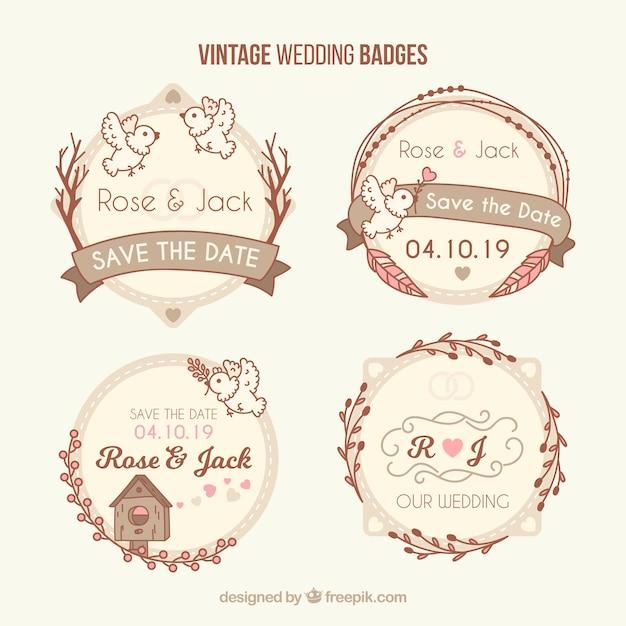 Ensemble classique de badges de mariage vintage Vecteur gratuit