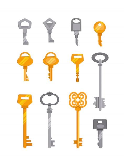 Ensemble de clés argentées et dorées Vecteur gratuit