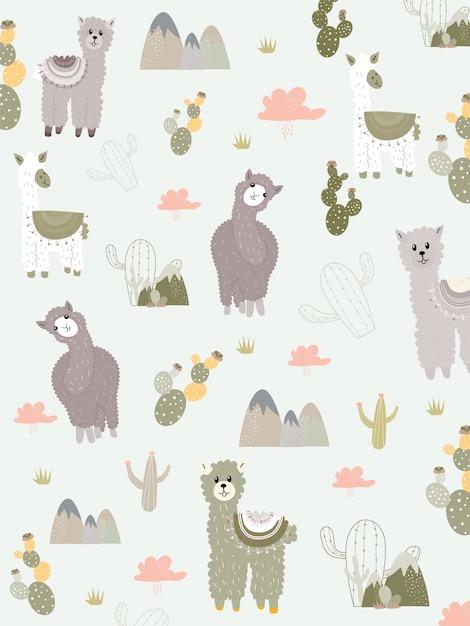 Ensemble de cliparts de lama et de cactus, aucun ensemble graphique de drama llamas. Vecteur Premium