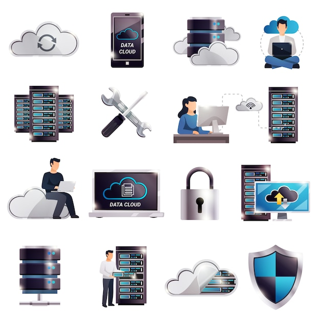 Ensemble Cloud De Serveurs D'hébergement De Centres De Données Vecteur gratuit